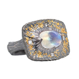 Moonstone and Diamond Oxidized Silver and Gold Dust Ring
