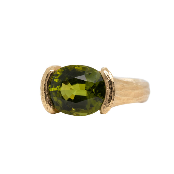 Peridot (5.33ct) Ring with Secret Diamonds in 18K Gold