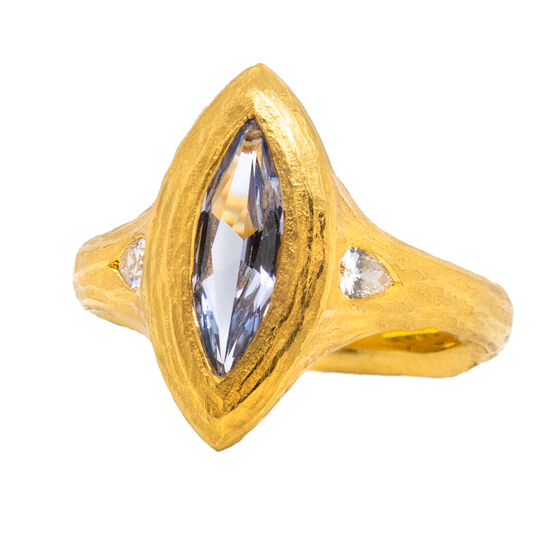 Spinel Ring Flanked with Diamonds in 22K Gold