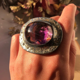 Bicolor Amethyst (81.16ct) Ring with Diamonds and Gold Dust