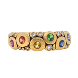 """Candy"" Dome Ring with Rainbow Gemstones in 18K Gold"