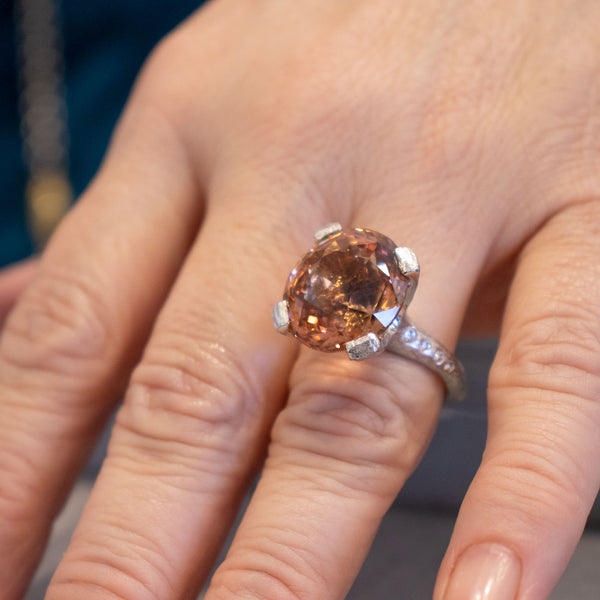 Peach Tourmaline (18.25ct) Ring with Diamond Accents in Platinum