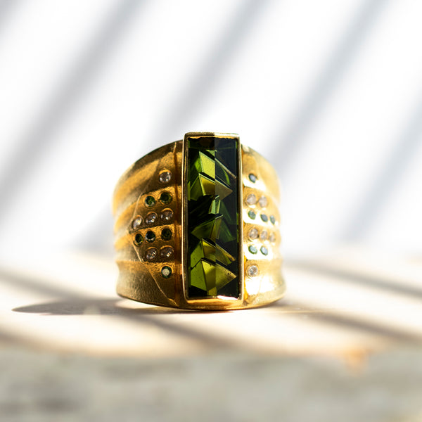 Tourmaline Statement Ring with Diamond Accents in 18K and 22K Gold
