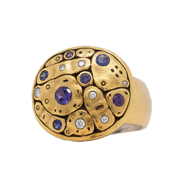Early Spring Ring with Sapphires and Diamonds in 18K Gold