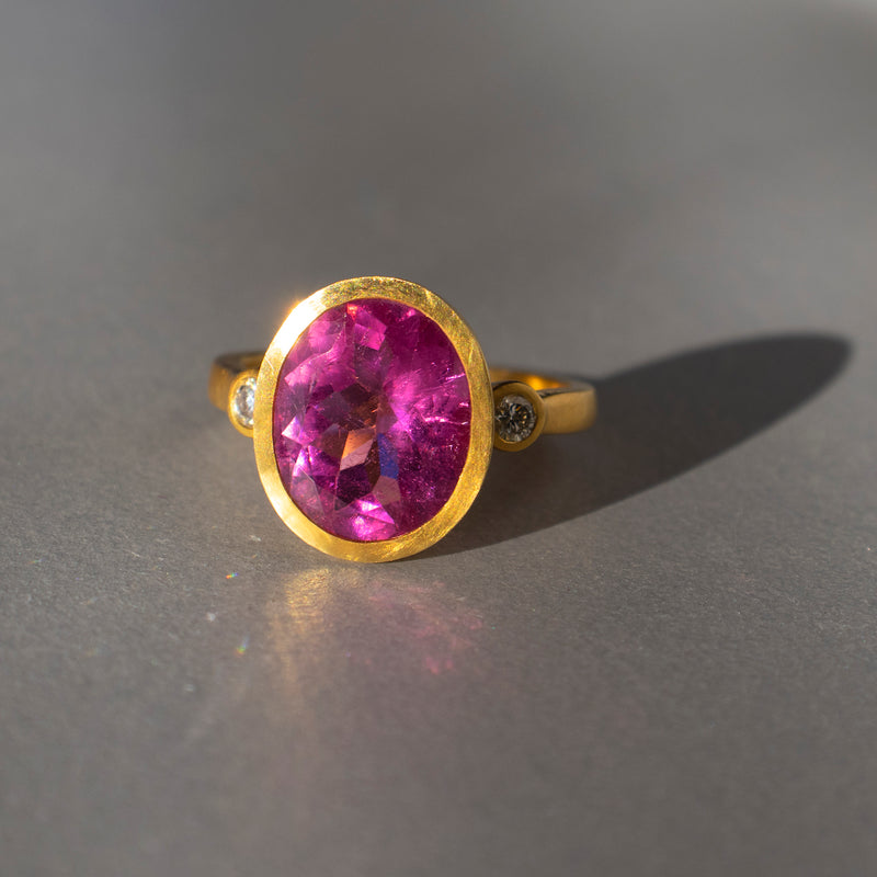 Rubellite and Diamond Ring in 18K Gold