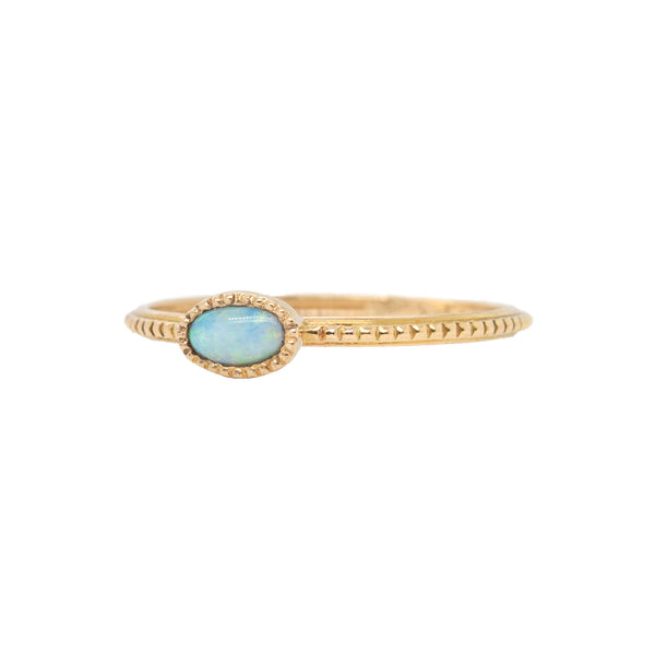 Dainty Australian Opal Ring in 14K Yellow Gold