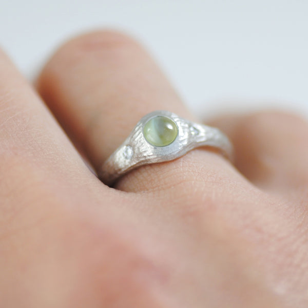 Flush Set Cat's Eye Chrysoberyl Platinum Ring