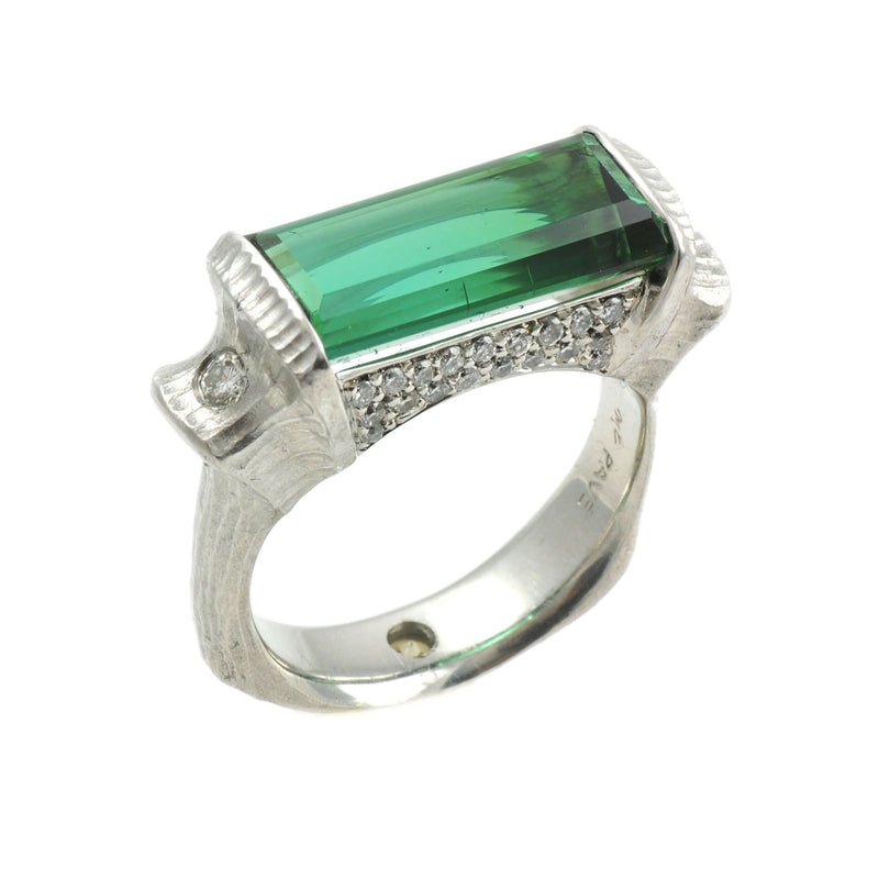 Rectangular Tourmaline (7.89ct) Ring with Diamond Accents in Platinum