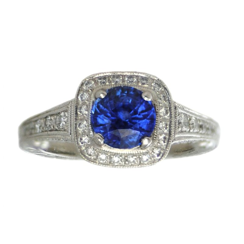 Blue Sapphire (1.50ct) Ring with Diamond Halo in Platinum