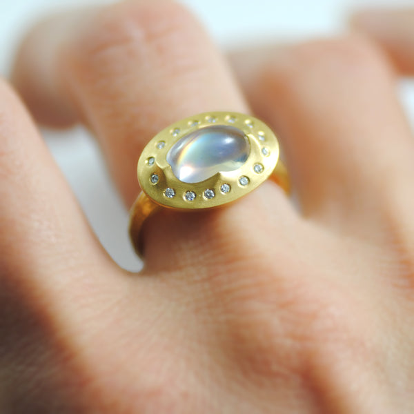 Moonstone Ring in 22K Gold with Diamonds