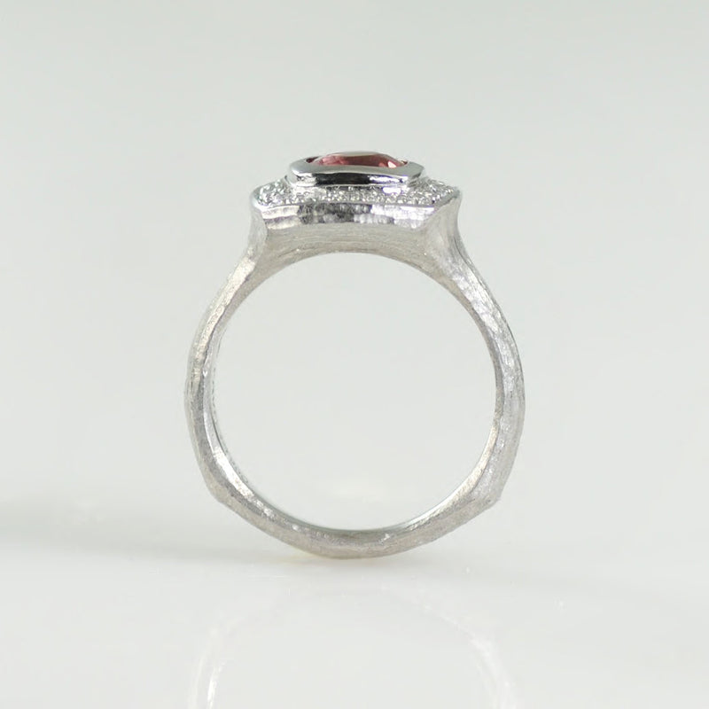 Padparadscha Sapphire (1.34ct) Ring with Diamond Halo in Platinum