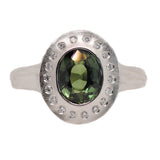Green Sapphire (1.76ct) Ring with Flush Set Diamond Halo in Platinum
