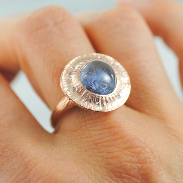 Dumortierite (4.84ct) Ring with Textured Halo in 14K Rose Gold