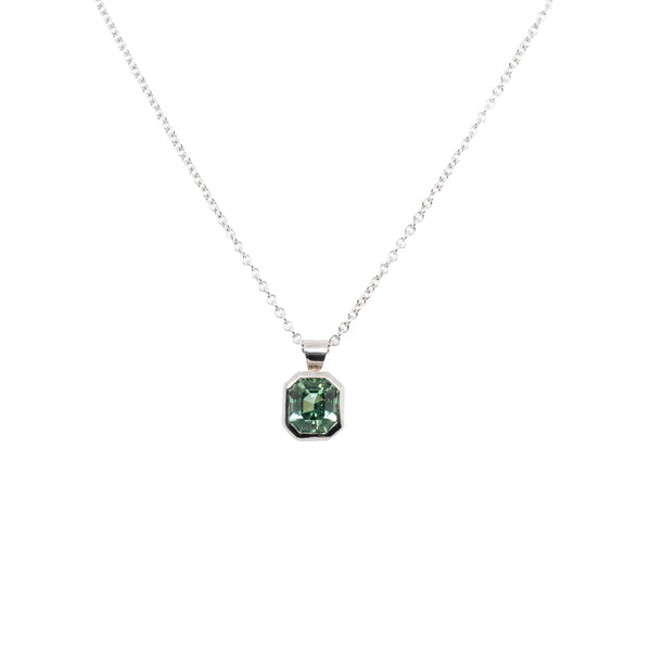 Mint Green Tourmaline (1.03ct) Necklace in 18K White Gold