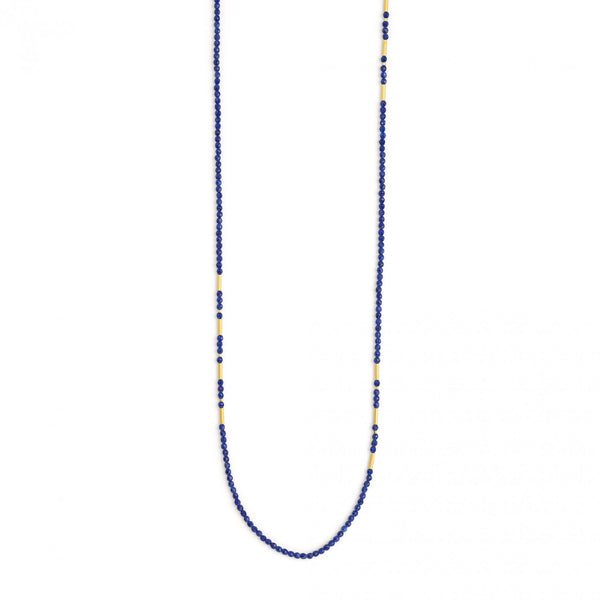 Lapis lazuli necklace featuring gold plated sterling silver beaded accents. Length of 34 inches.