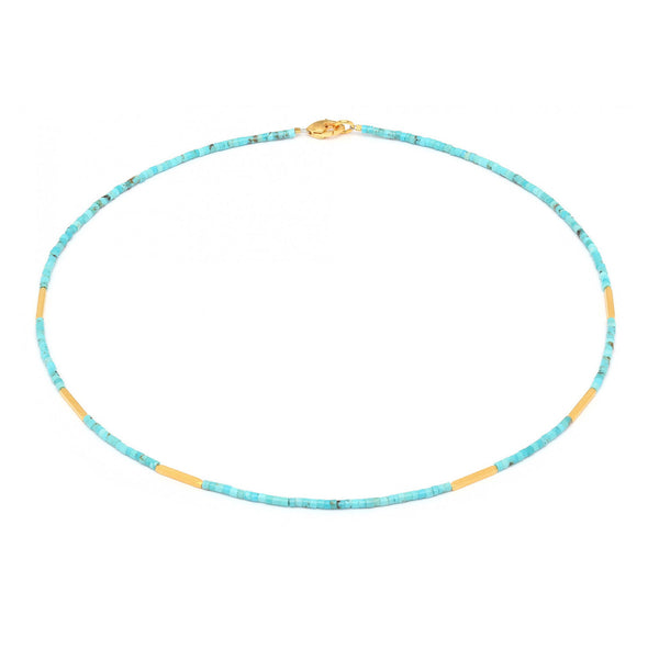 Blue Turquoise with Long Bead Accents (17 Inches)