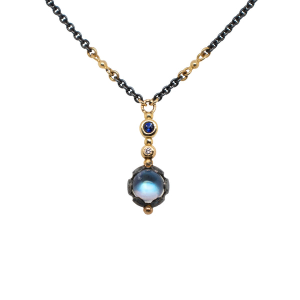 """Long Elixir"" Moonstone, Sapphire, and Diamond Necklace in Oxidized Silver and Gold"