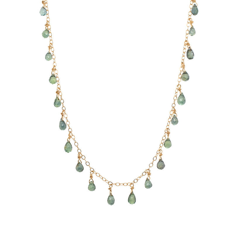 Blue-Green Tourmaline Necklace in Gold