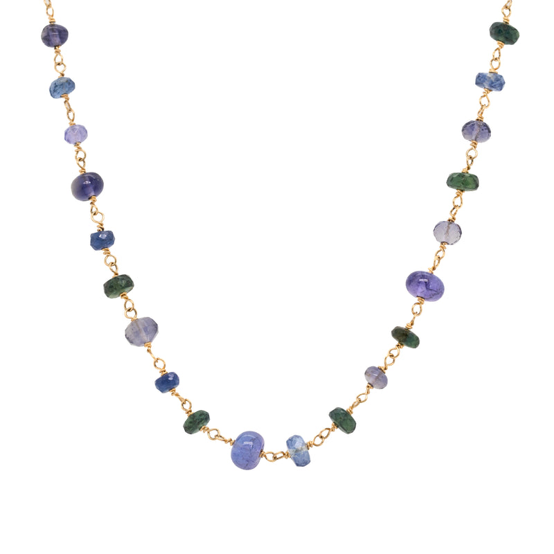 14 karat yellow gold chain necklace featuring sapphire, tanzanite, kyanite, and iolite beads in a length of 18 inches
