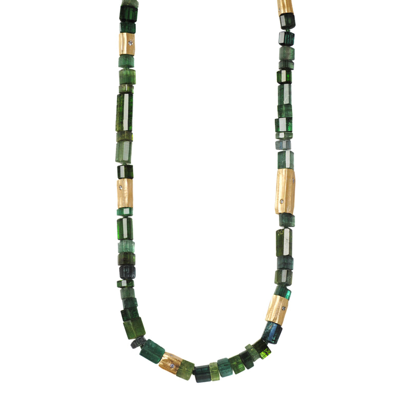 Green Tourmaline Necklace with 18K Yellow Gold and Diamond Accents (19.5 inches)