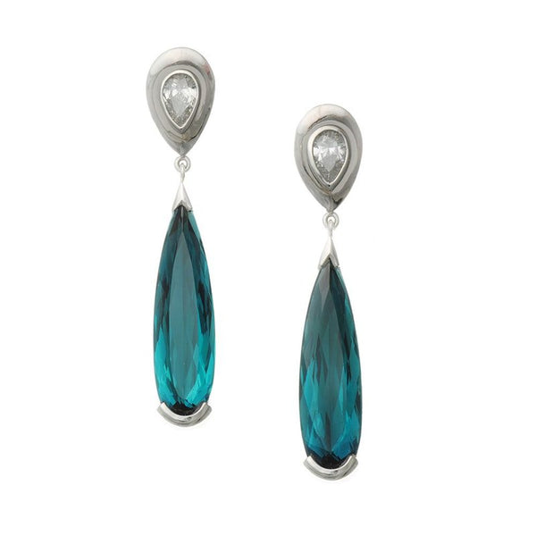 Teardrop Indicolite (9.18ctw) Earrings Suspended from Diamonds in Platinum