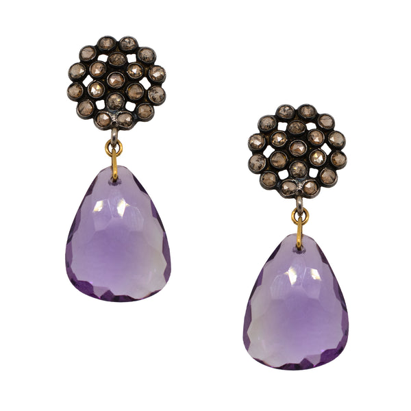 Amethyst Drop Earrings with Champagne Diamonds