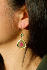Watermelon Tourmaline Earrings with Sapphire Accents