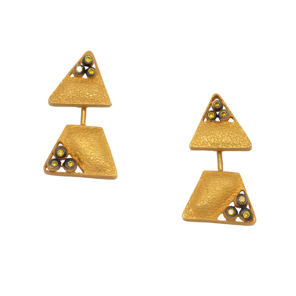 Gold and Diamond Convertible Earrings