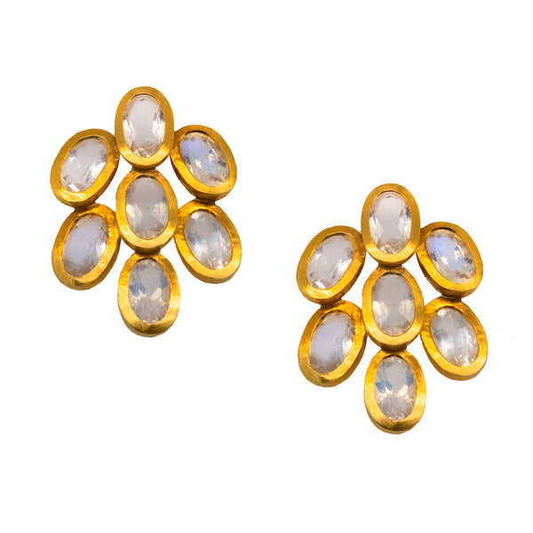Leaf Shaped Moonstone (3.50ctw) Studs in 18K Gold