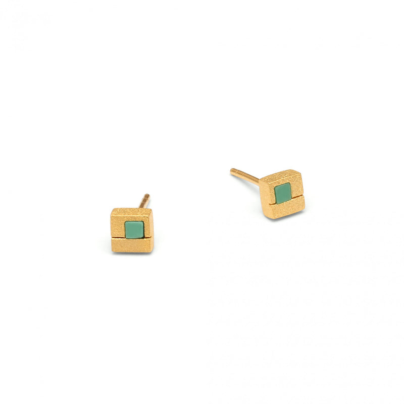 Green Turquoise Square Stud Earrings