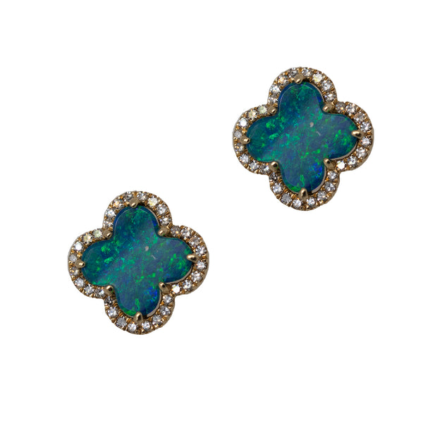 Opal Quatrefoil Stud Earrings with Diamond Accents