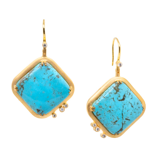 Turquoise and Diamond Gold Square Earrings