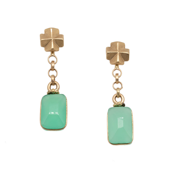 Fairy Cross Gold Earrings with Chrysoprase Drop