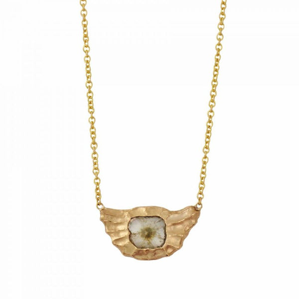 18K Gold Redwood Texture & Diamond Slice Necklace