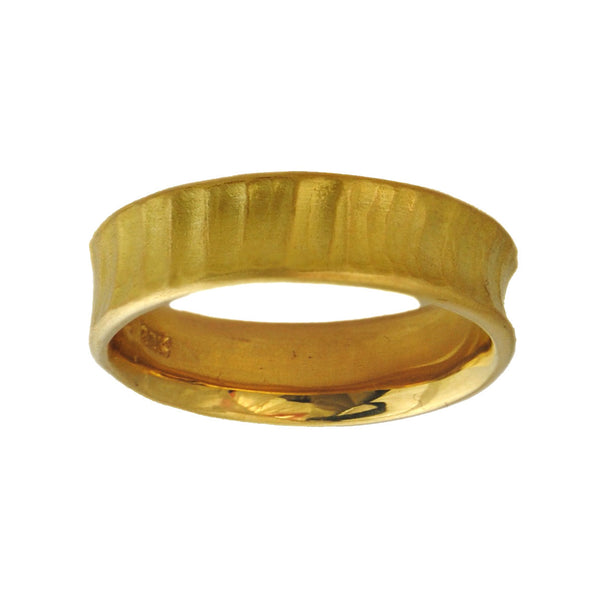 22K Yellow Gold Band (5.5mm) Concave Textured Metal