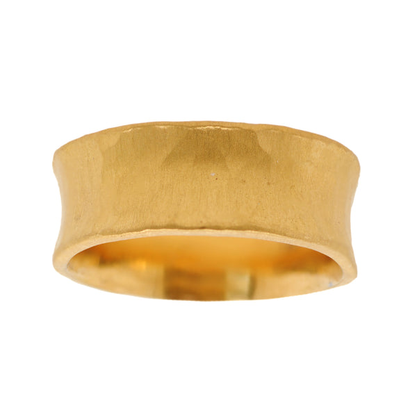 24K Yellow Gold Concave Band with Hammered Texture