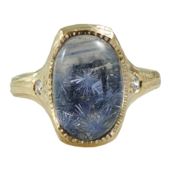 Bezel Set Oval Dumortierite (9.05ct) Ring in 18K Gold