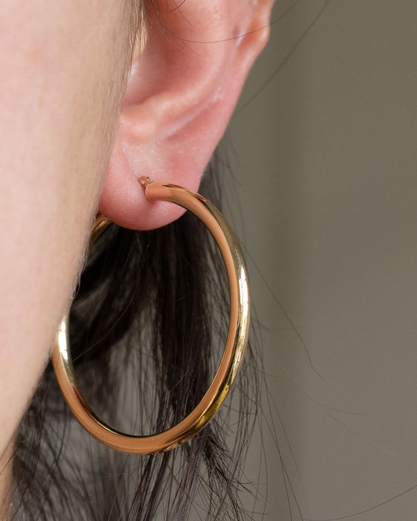 Round Tube Hoops in 14K Gold (40mm)
