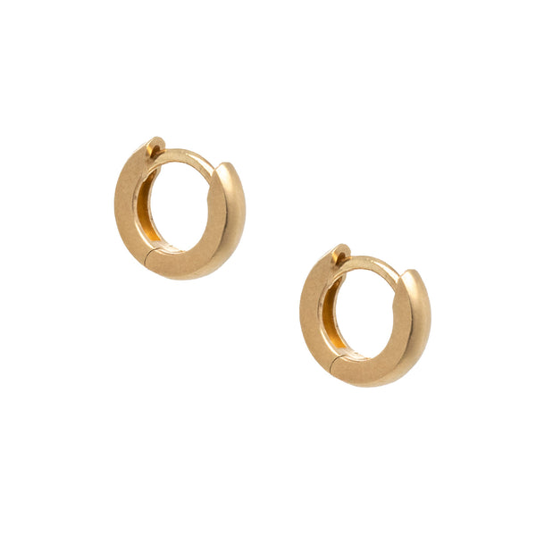 Pair of 14 karat yellow gold hinged huggie hoop earrings, 9.5 x 2.2mm, with a bead blast finish