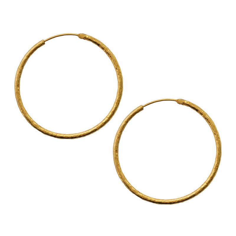 Textured Hoops in 22K Gold