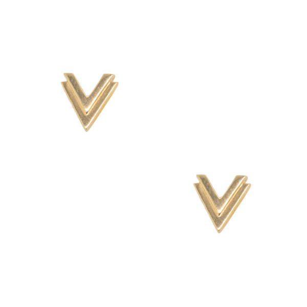 Pair of polished 14 karat yellow gold double V stud earrings, 8 x 7.8mm, with friction backs.