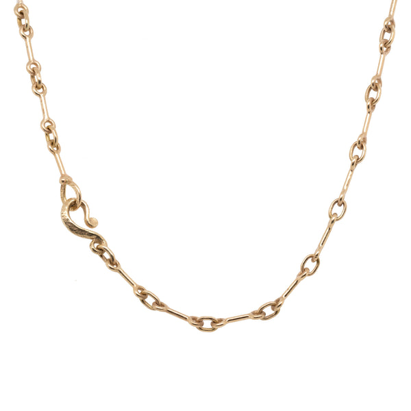 Handmade 14K Gold Dog Bone 19 Inch Chain