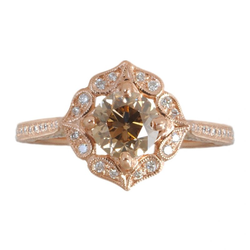 Vintage Inspired Cognac Diamond Ring in 18K Rose Gold