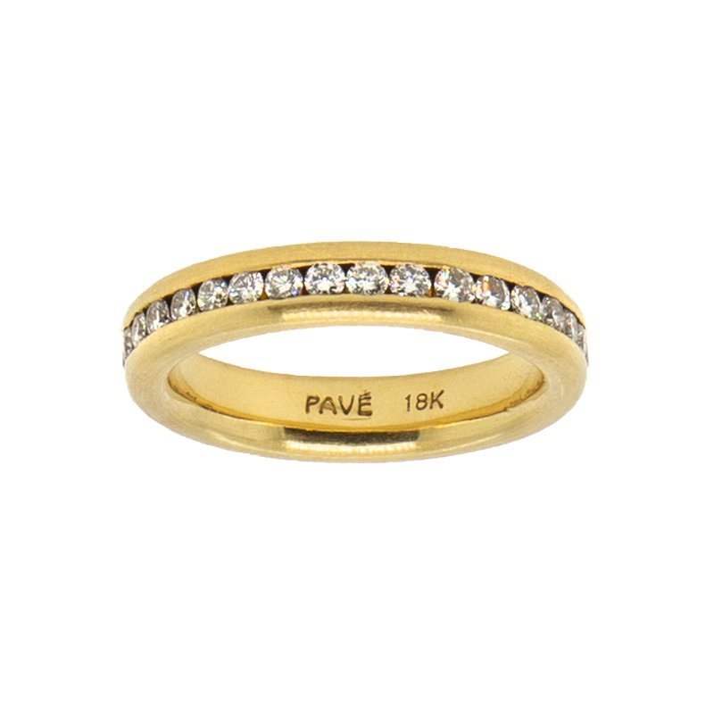 18k yellow gold eternity band with channel set diamonds 0.76ctw