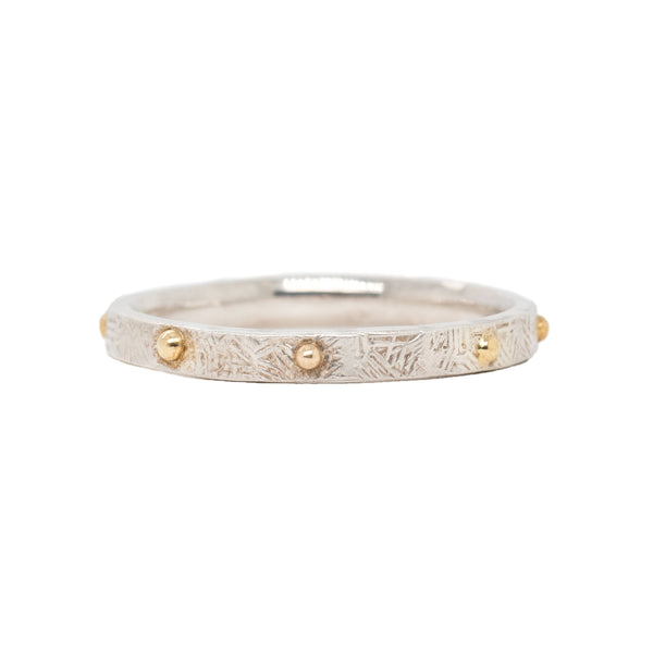 Textured Sterling Silver Band (2mm) with Yellow Gold Dots