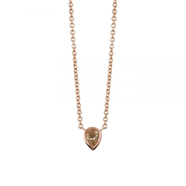 18K Rose Gold Pear Shaped Yellow Diamond (.38ct) Necklace