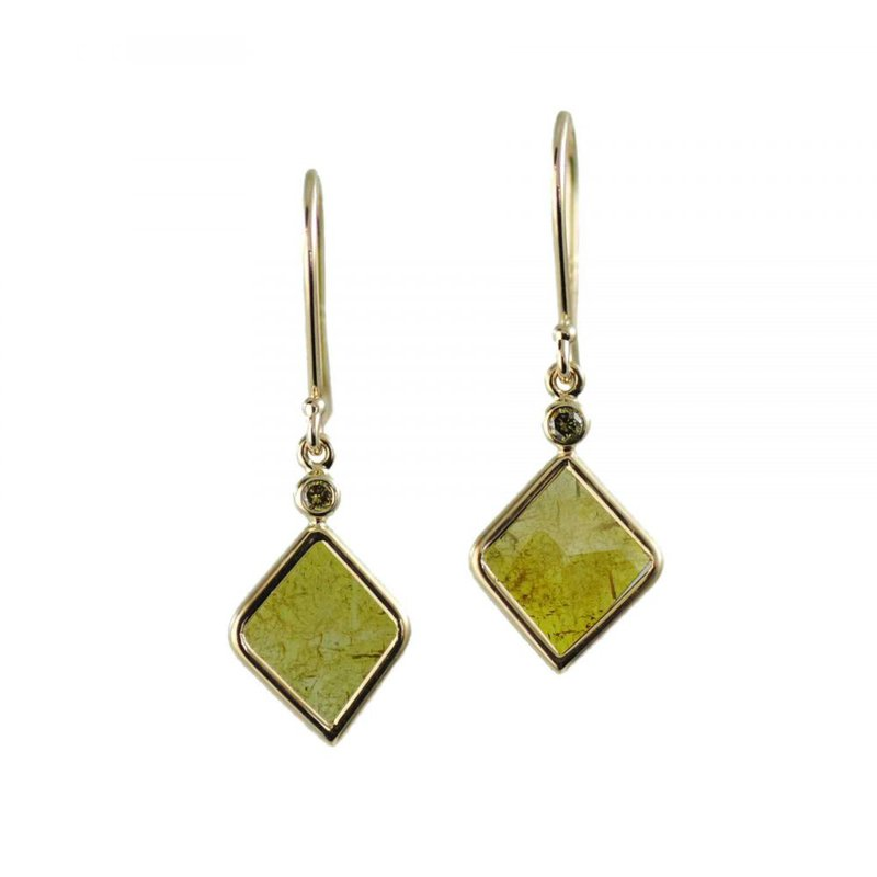 Yellow Diamond Slice Earrings