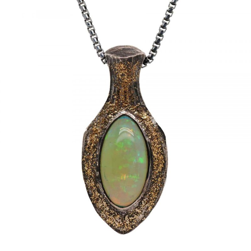 Opal (11.35ct) Pendant Necklace with Gold Dust