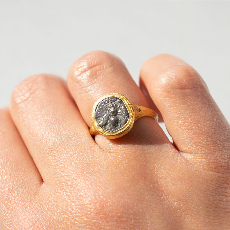 Ancient Greek Rare Bee Coin Ring in 22K Gold with Diamonds