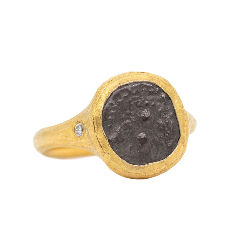 22 karat yellow gold ring designed by Michael Endlich featuring a textured bezel set rare bee ancient coin from the ancient Greek city of Ephesos, place of great importance during Classic and Helenistic times, dating between 390-330 BCE.  Accented by two flush set diamonds (0.05ctw) on either size, with redwood bark texture throughout and a slightly squared off shank. Finger size 6.5.  Made by Yas, Joel, and Ellyn in our workshop.